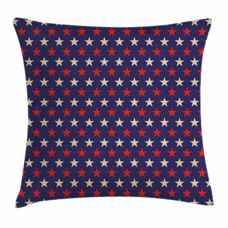 USA Throw Pillow Cushion Cover, Vintage Patriotic True Blue Home Country My Land Birthday Retro Artsy Pattern, Decorative Square Accent Pillow Case, 18 X 18 Inches, Dark Blue Cream Red, by Ambesonne](Patriotic Pillows)
