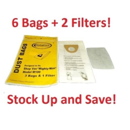 6 Shop Vac Mighty Mini M100 Vacuum Cleaner Bag Replacements -6 Bags + 2 Filters By From TacPower Design To Fit Shop Vac,USA