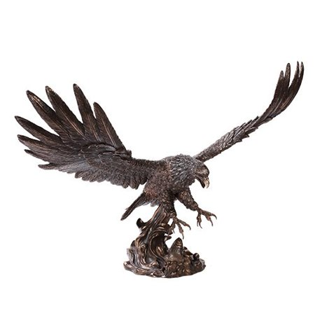 "Large Swooping Bald Eagle With Talons Out For Fish Statue 19""Long Decor Figurine"