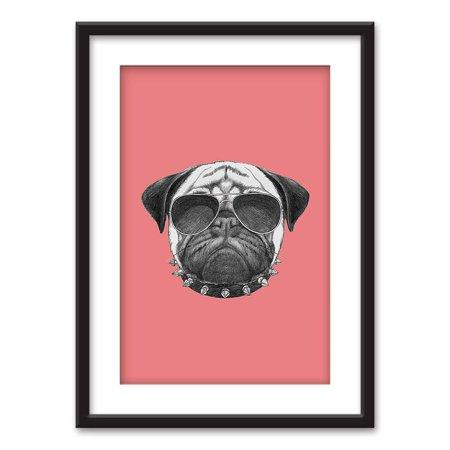wall26 - Framed Wall Art - Cool Pug Dog Sun Glasses - Black Picture Frames White Matting - 23x31 (D&g Glass Frames)