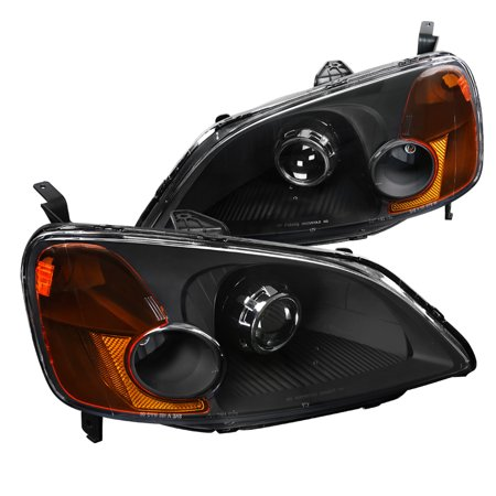 Spec-D Tuning For 2001-2003 Honda Civic 2/4Dr Projector Headlights Turn Signal Lamps Black Pair (Left+Right) 2001 2002 2003 Civic Projector Headlights Black Housing