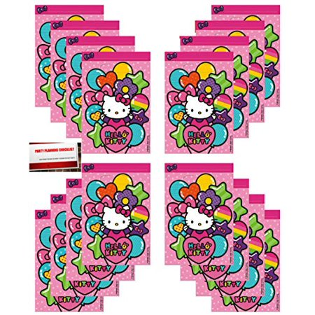 16 Pack Hello Kitty Party Plastic Loot Treat Candy Favor Bags (Plus Party Planning Checklist Mikes Super Store) - Hello Kitty Party Favors