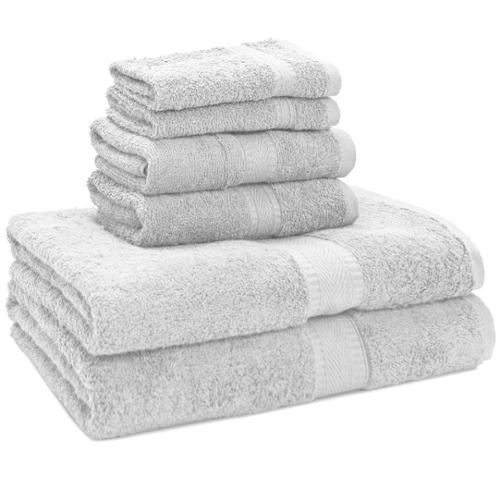 Luxury 100-percent Egyptian Cotton 6-Piece Towel Set - 2 Bath Towels - 2 Hand Towels - 2 Washcloths White