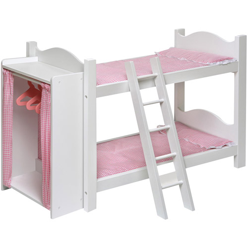 Badger Basket Doll Bunk Bed with Ladder and Armoire Fits Most 18