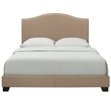Camelback Latte Queen All-in-One Bed with Burnished Brass Finished Nail Heads