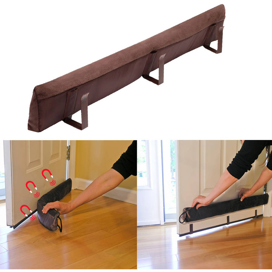 Evelots Magnetic Clip On Door Draft Stopper, Cold Air Out Energy Saver, Brown