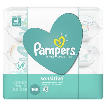Pampers Baby Wipes, Sensitive, 3X Pop-Top Packs (Choose Your Count)