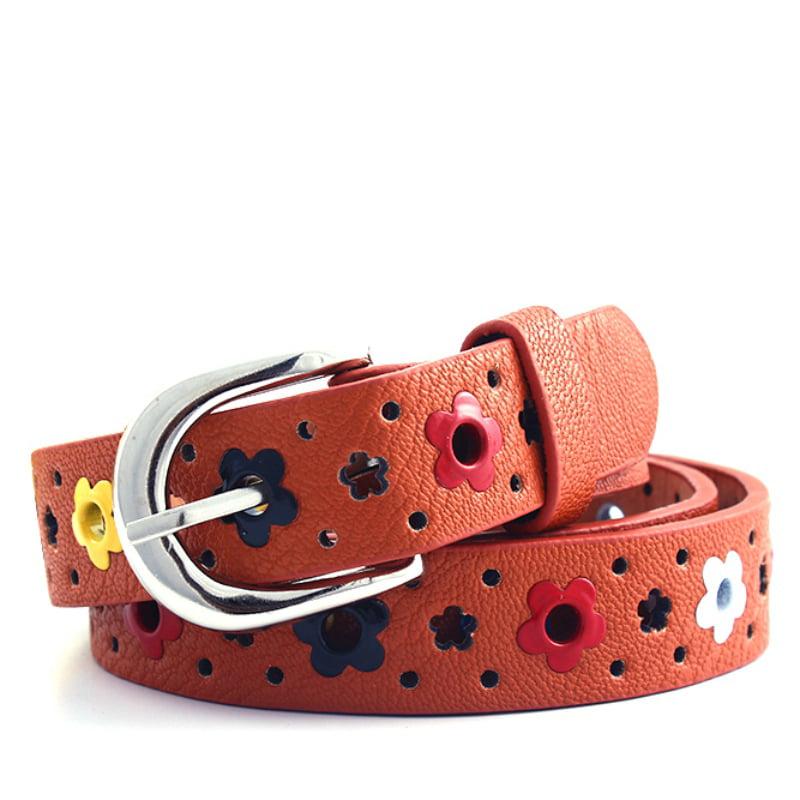 Toddler Baby Candy Color Waist Belt Buckle PU Leather Kids Girls Boys Waistband