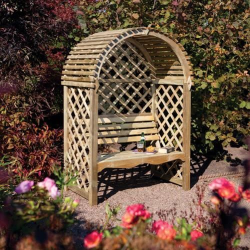 Rowlinson English Garden Wood Seated Arbor