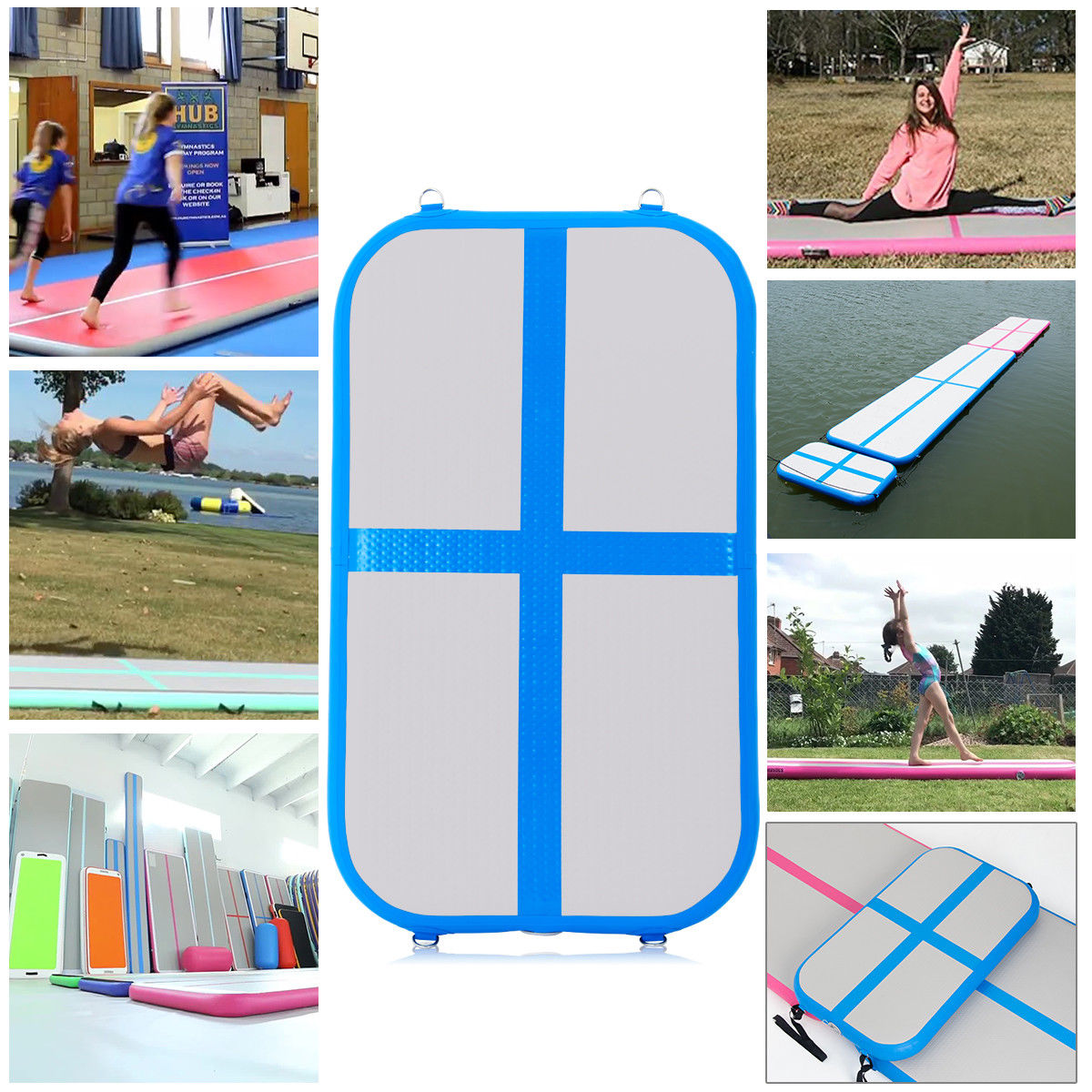 3.3' Inflatable Gymnastics Mat Air Track Floor Mat Water Buoyancy w/ Pump Blue - image 9 de 10
