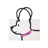 Two's Company Dog Tote with Ear Handles -Black and White Animal Bag with Sequins