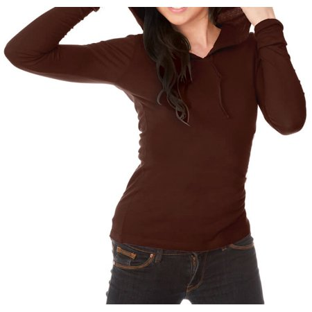 Kavio! Junior Long Sleeve Pullover Hoodie Brown L