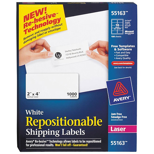 "Avery Repositionable Shipping Labels for Laser Printers, 2"" x 4"", White, 1,000-Pack"