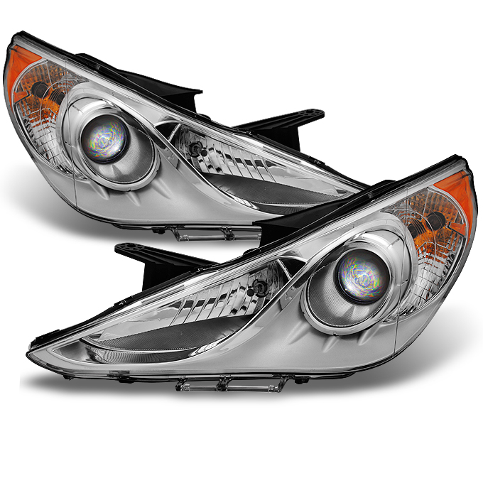 Fits 2011 2012 2013 Sonata Projector Headlights Replacement Left+Right Pair Set