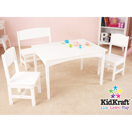 KidKraft - Nantucket Long Table with Bench and 2 Chairs, White