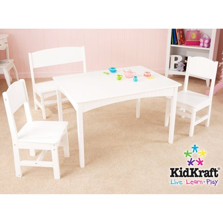 KidKraftNantucket Long Table with Bench and 2 Chairs White