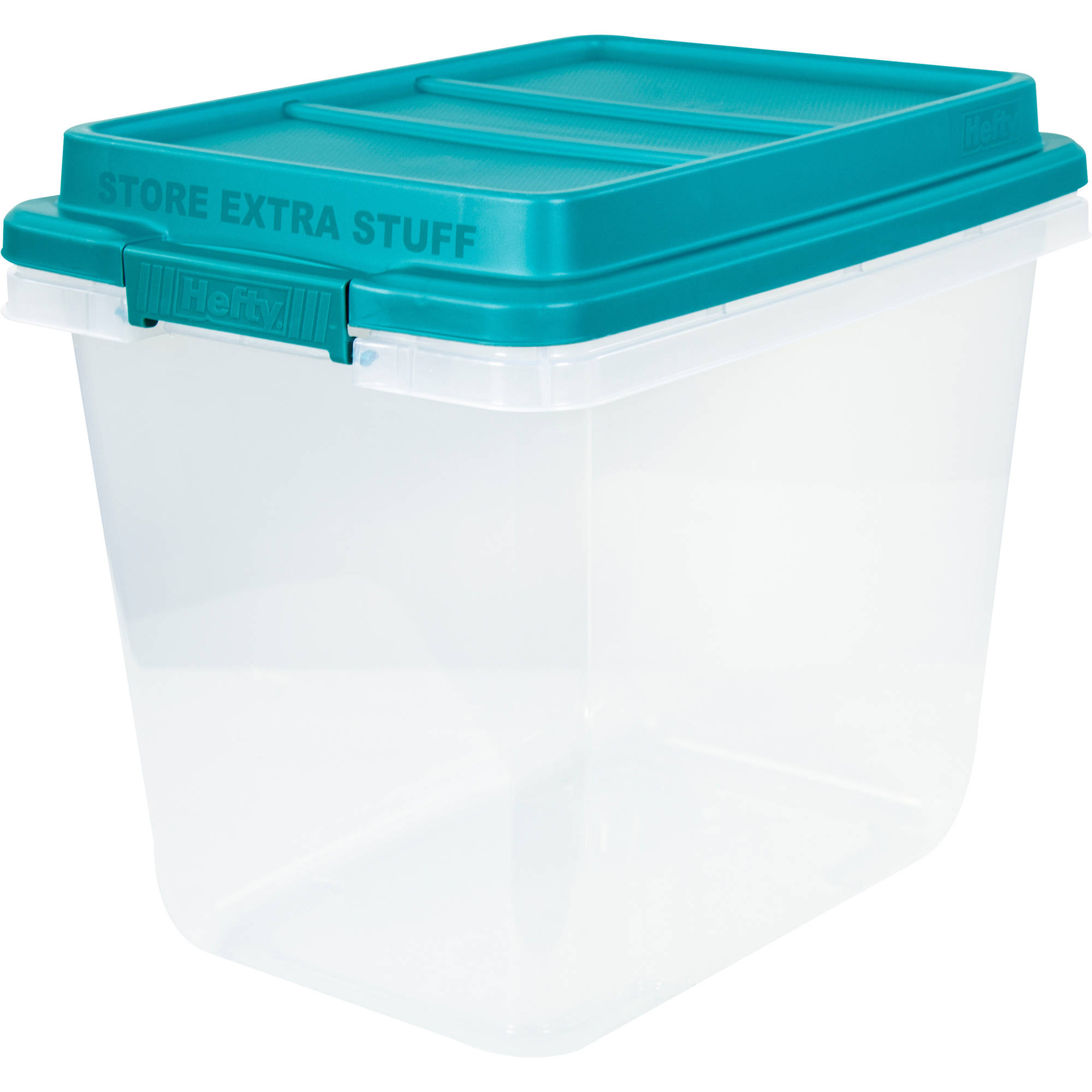 Hefty HI-RISE Storage Bins, 32 Qt. Stackable Bin with Latch, Teal Clear by HMS Mfg. Co.