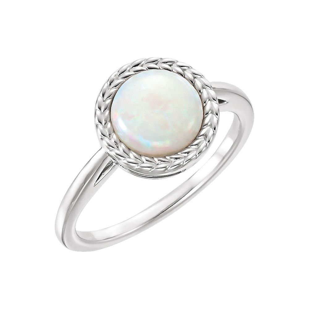 14k White Gold Opal Cabochon Bezel Set Leaf Gemstone Ring by