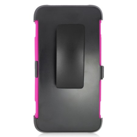 Insten Stand Dual Layer Hybrid Case with Holster For Huawei Pronto - Black/Hot Pink - image 3 de 4