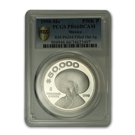 1990-Mo Mexico Silver 50,000 Peso Pattern PR-66 PCGS (Filled hat)