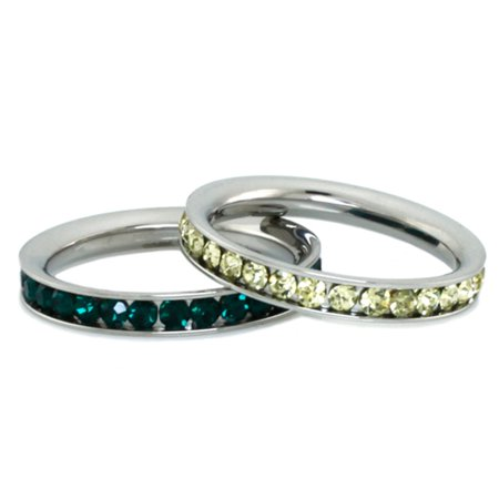 Stainless Steel Eternity 3 mm Citrine & Emerald Color Crystal Stackable Rings (2 pieces) Set Created Citrine Stainless Steel Ring