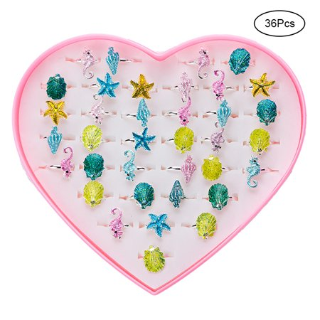 36Pcs Ocean Series Kids Jewelry Set Adjustable Rings Girl Pretend Play Dress Up Rings Girl Gifts - Dress Up Lord Of The Rings