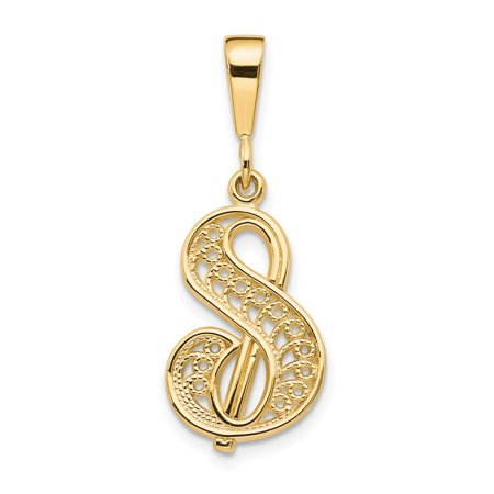 14k Yellow Gold Initialcharm Necklace Pendant Charm Initial Fine Jewelry Gifts For Women For Her - image 7 of 7