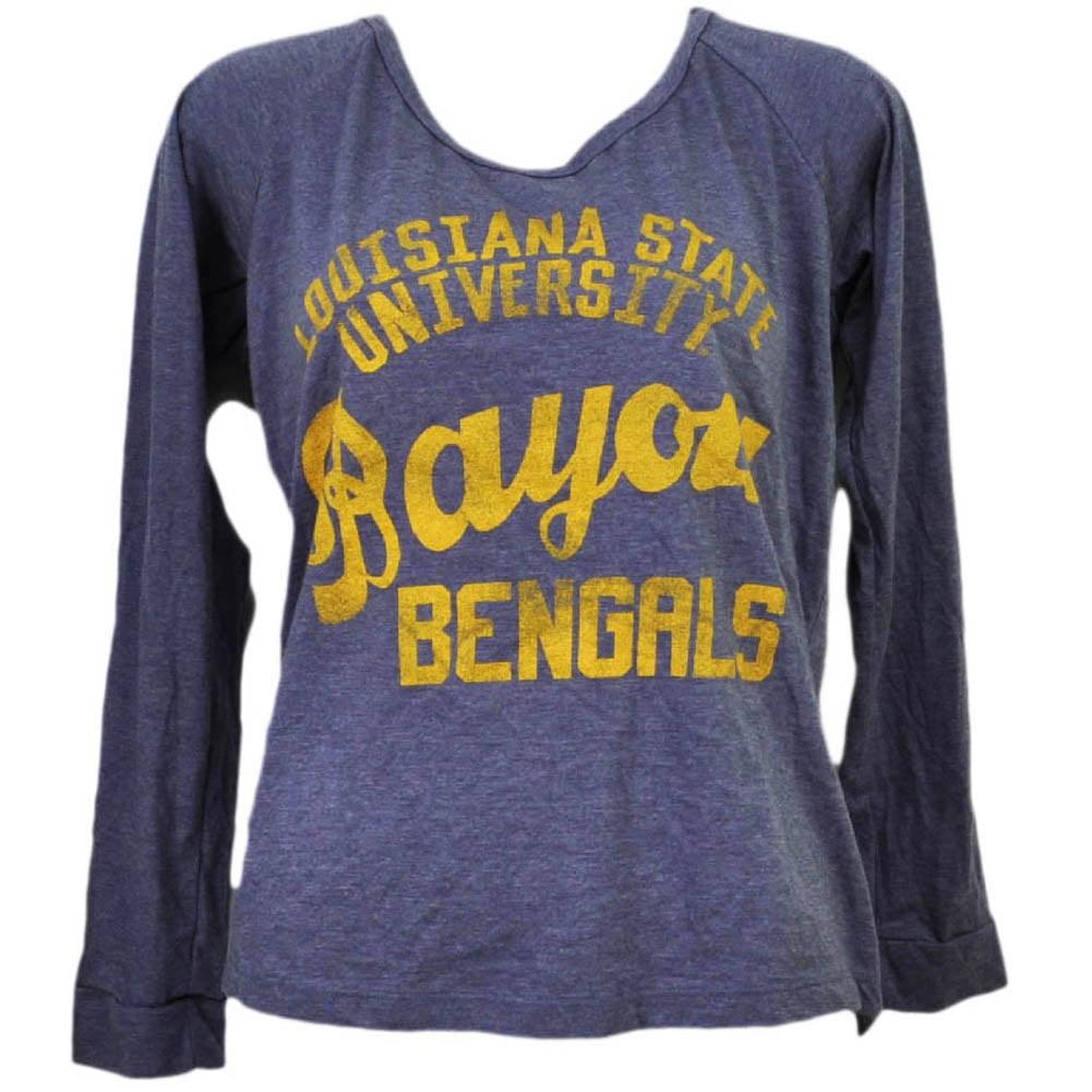 NCAA Louisiana State Geaux Tigers LSU Womens Purple Long Sleeve Tshirt Tee Small by T University