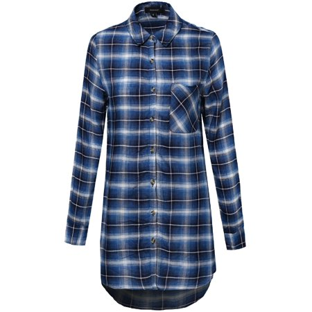 FashionOutfit Women's Oversized Plaid Long Sleeve Button Up Tunic Top