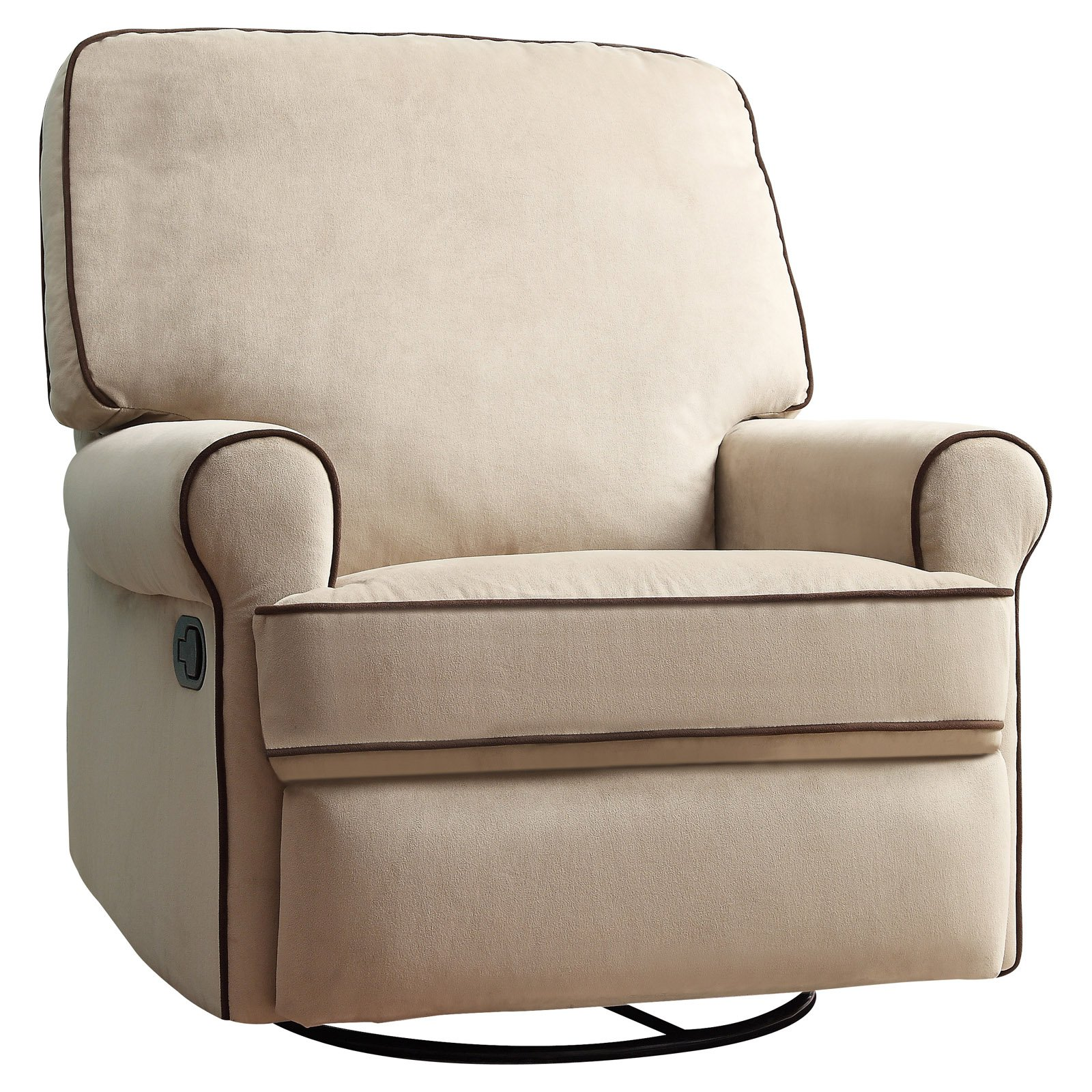 Home Meridian International Birch Hill Swivel Glider Recliner Beige with Stella Contrast Piping
