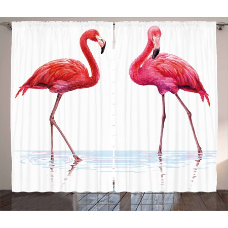 Animal Curtains 2 Panels Set, Two Hand Drawn Flamingos in Pink Colors on Seaside Tropical Exotic Wildlife Artwork, Window Drapes for Living Room Bedroom, 108W X 84L Inches, Red Pink, (Wildlife Pin)