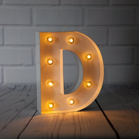 Fantado White Marquee Light Letter 'D' LED Metal Sign (8 Inch, Battery Operated w/ Timer) by PaperLanternStore (D Marquee Halloween)