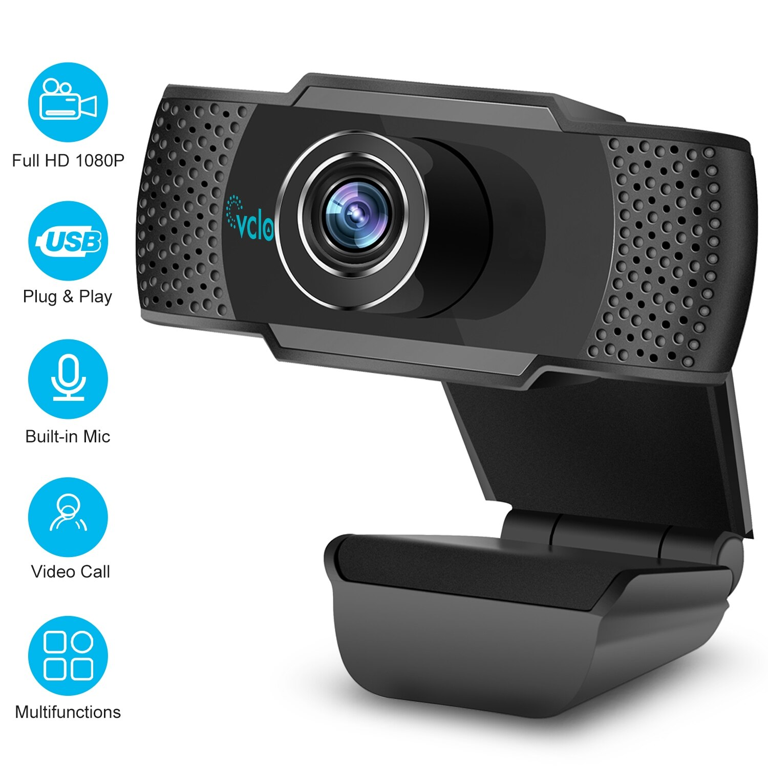 Vcloo 1080P HD Webcam with Microphone,Webcam for Gaming Conferencing,Laptop or Desktop Webcam,USB Computer Camera for Mac Xbox YouTube Skype OBS,Fast Autofocus