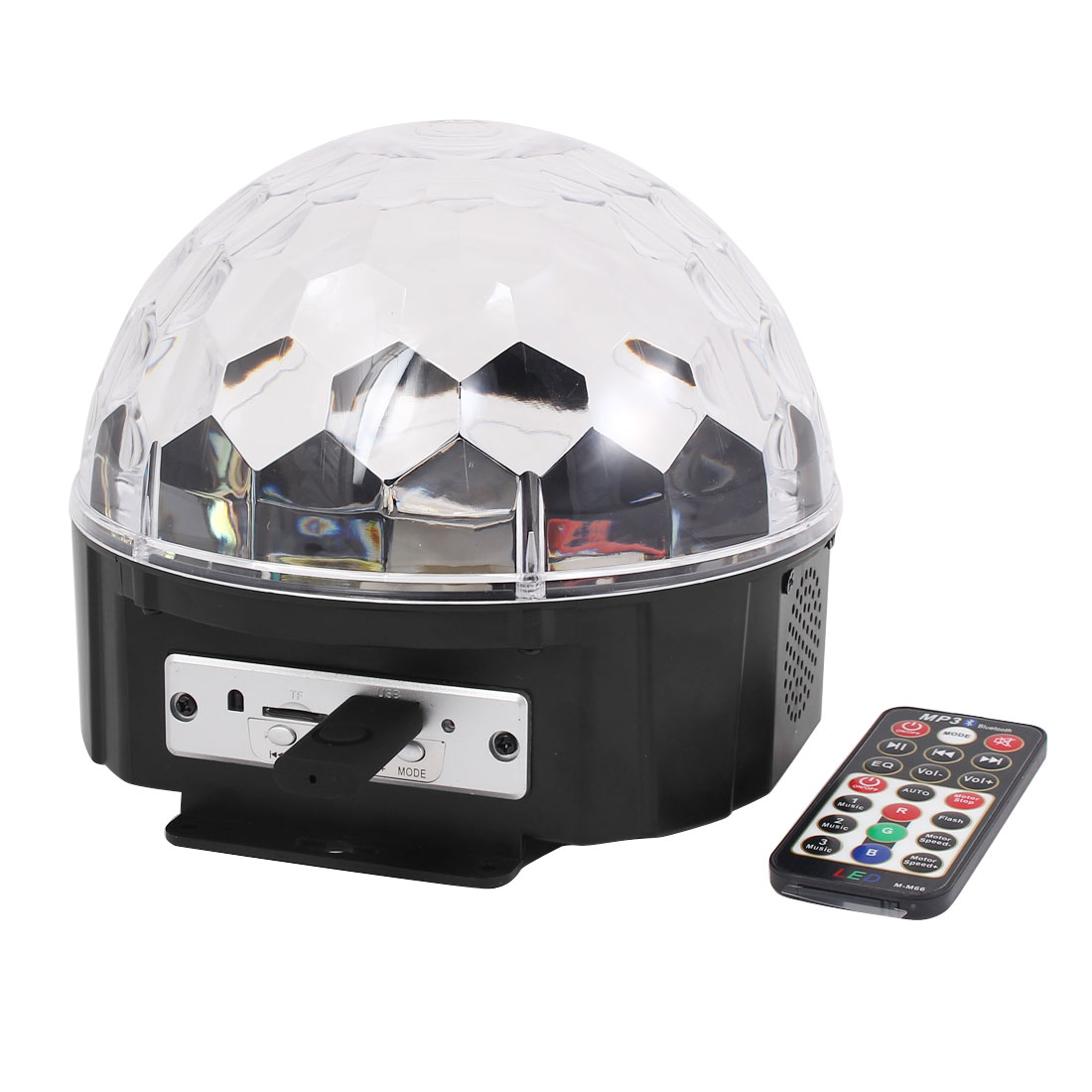 Battery Power Disco DJ MP3 RGB Crystal LED Magic Ball Light w Remote Controller by