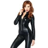 Leg Avenue Women's Sexy Wet Look Catsuit Bodysuit