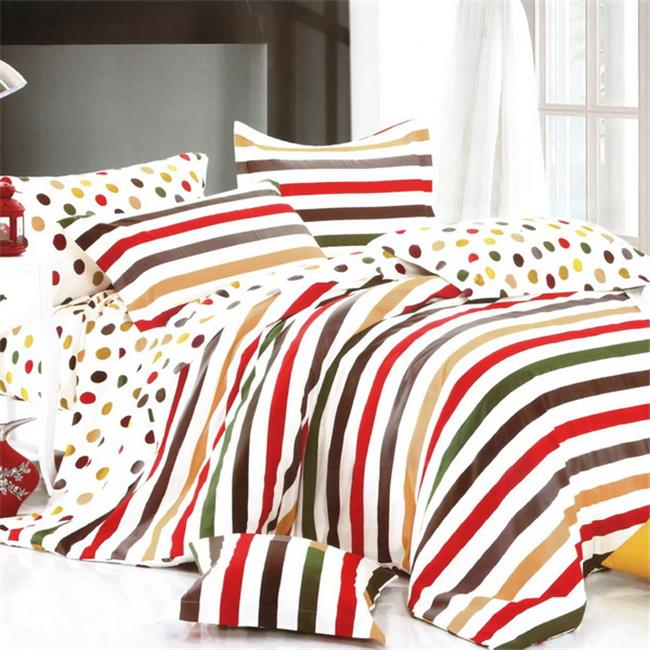 MF73-2/CFR01-2/PLW01x2 Rainbow Dots & Stripe Luxury 7 Piece Full Bed in a Bag Combo 300GSM