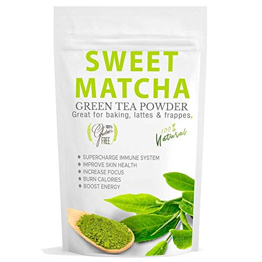 Sweet Matcha Green Tea Powder from Japan (16oz) Green Tea Powder Mix- Made with 100% Organic Matcha - Perfect for Making Green Tea Latte or Frappe - Great Energy Boost