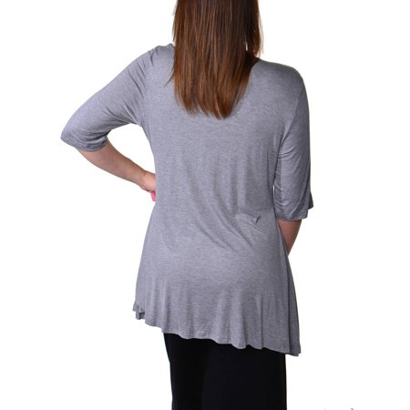 24/7 Comfort Apparel Women's Plus Size Elbow Sleeve Tunic