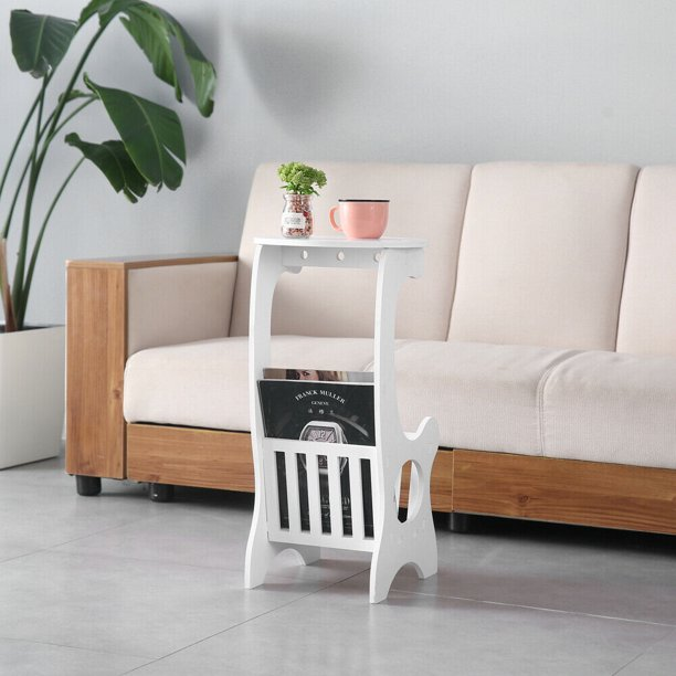 White Small Round End Side Accent Coffee Table Bedroom Living Room New Walmart Com Walmart Com