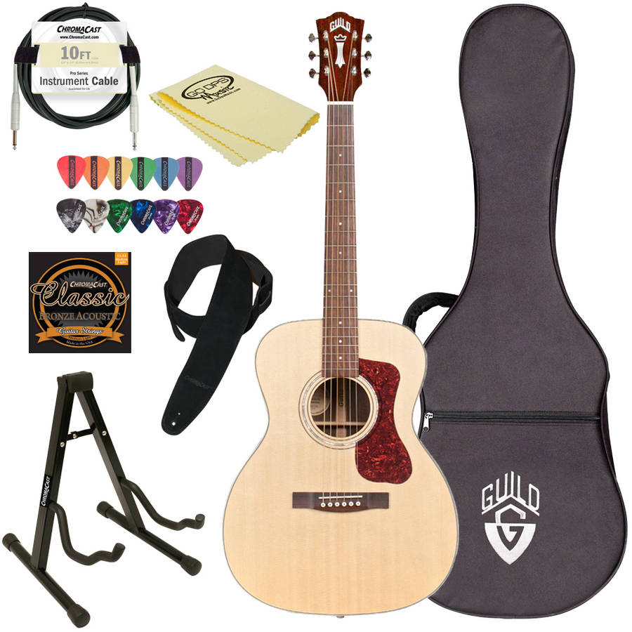 Guild OM-150 NAT Natural Rosewood Orchestra-Style Acoustic Guitar with Guild Hard Case and ChromaCast Accessories