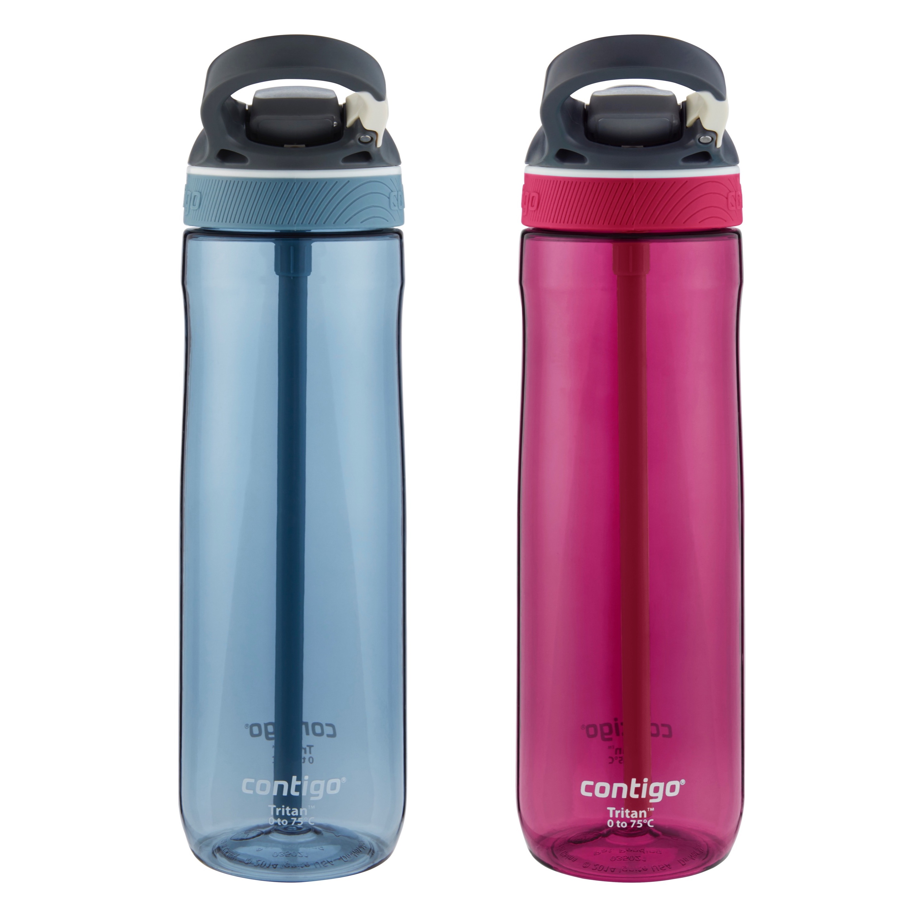 Contigo AUTOSPOUT Straw Ashland Water Bottle, 24 oz., Stormy Weather & Very Berry, 2-Pack