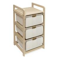 Three Bin Hamper/Storage Unit - Natural/Ecru