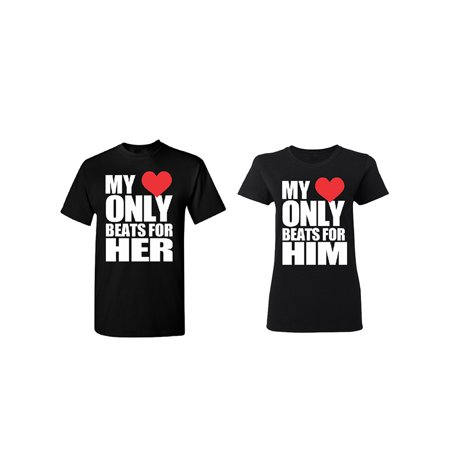 Only Beats For Her - Him Couple Matching T-shirt Set Valentines Anniversary Christmas Gift Men Small Women
