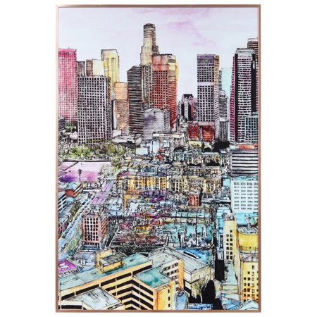 Empire Art Direct City View on Reverse Printed Art Glass and Anodized Aluminum Rose Gold Frame Wall Art, 36