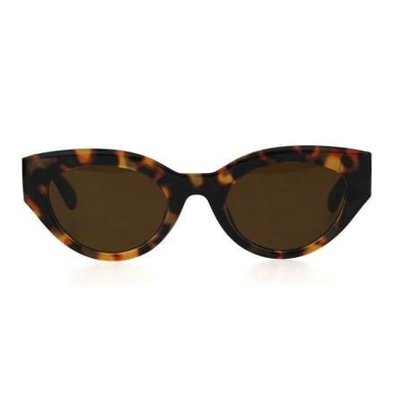 Womens Mod Thick Plastic Fashion Cat Eye Sunglasses Tortoise Brown