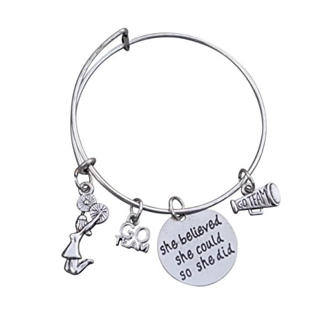 Cheer Bracelet- Girls Cheerleading Bracelet- Adjustable Bangle Cheerleader Bangle Bracelet- Cheer Jewelry - Perfect Gift For Cheerleaders & Cheer - Cheer Jewelry