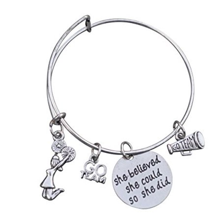 Cheer Bracelet- Girls Cheerleading Bracelet- Adjustable Bangle Cheerleader Bangle Bracelet- Cheer Jewelry - Perfect Gift For Cheerleaders & Cheer - Cheerleader Christmas Gifts