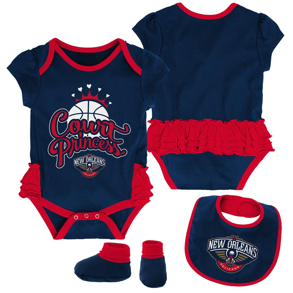 New Orleans Pelicans Creeper, Bib and Bootie Set Infant Set