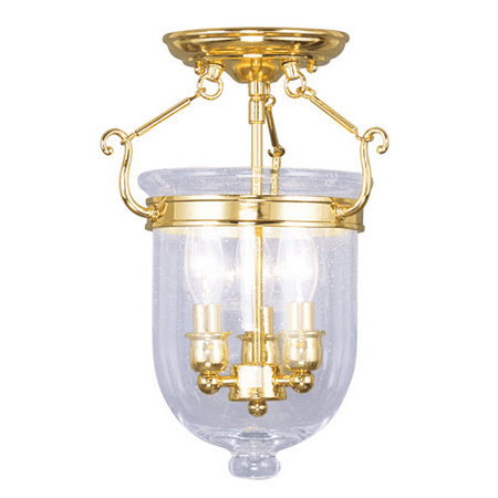 Semi Flush Mounts 3 Light With Seeded Glass Polished Brass size 10 in 180 Watts - World of (10 Polished Brass Glass)