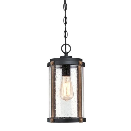 Westinghouse Outdoor Pendant (Westinghouse Armin One-Light Outdoor Pendant, Textured Black Finish with Barnwood Accents and Clear Seeded)